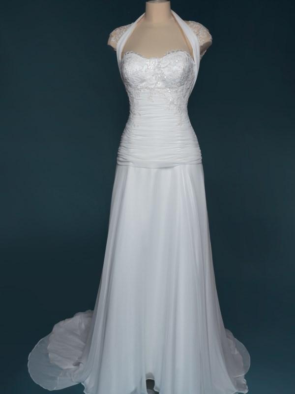 abito da sposa in chiffon drappeggiato